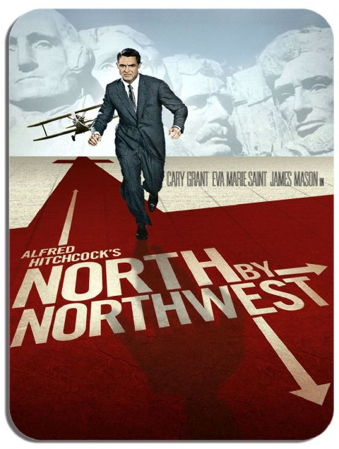 North by northwest 1959 Mouse Mat. Vintage Film Movie Poster Quality Mouse Pad